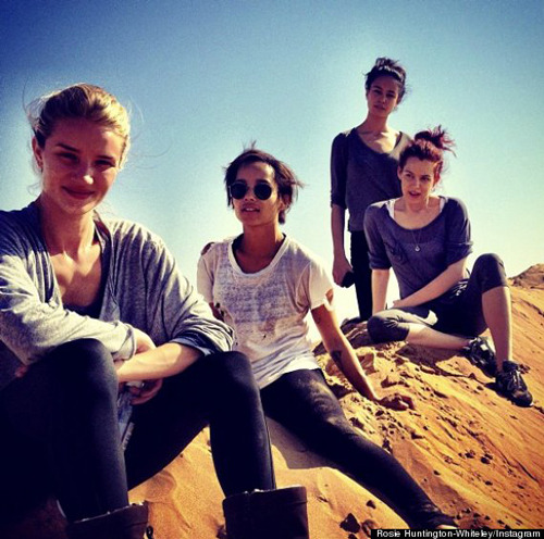 First image of Rosie Huntington-Whiteley on Mad Max set Mad Max: Fury Road has begun shooting on location in Namibia, with Rosie Huntington-Whiteley tweeting a picture of herself from the set, alongside co-stars Zoe Kravitz, Riley Keough and Adelaide Clemens…
