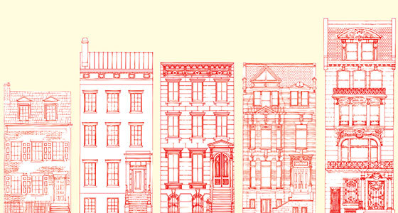 A Rowhouse Spotter's Guide From left to right:   Federal (1800–1835)Clean and simple. Two stories, sometimes three, with dormer windows in attic. Unornamented stone windowsills and lintels.   Greek Revival (1830–1850)Often has a brownstone base and brick upper façade. Entryway has pilasters and slim windows flanking the door and simple lintels above.   Italianate (1840–1870)Elaborate projecting ornament. Façade is usually brownstone. High stoop; round-headed double doors. Windows and doors often flanked with carved scroll- or acanthus-leaf-shaped brackets.   Queen Anne (1870–1890)Lots of materials, colors, and especially textures. Asymmetrical façade, typically with bay windows; terra-cotta and wrought-iron details; complex dormers and chimneys. Right-angle or straight high stoop.   Beaux-Arts (1890–1920)Formal and classical. Often white limestone or marble. No stoop to speak of; often has wrought-iron balconies.