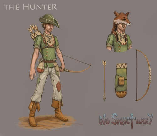 The role of the Hunter is to hunt animals for food, animal skins, and whatever else can be gained from killed animals. The Hunter, like the Builder, is one of the settlers that make up a newly founded settlement, and in a newly founded settlement he provides the sole source of food up to the point when farms are built. Hunters are somewhat frail, poor melee fighters, and to find prey they will go quite far from their settlement where they might find themselves surrounded without backup. Hunters compensate for these weaknesses by not only being an excellent archers, but also being fast and good at escaping from wild animals. In combat Hunters will always try to keep their distance and attack opponents with their bows.