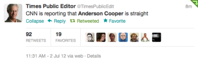 "theclearlydope:  ""CNN is reporting that Anderson Cooper is straight."""
