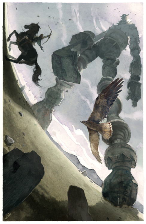ORIGINAL SHADOW OF THE COLOSSUS ILLUSTRATION Shadow of the Colossus by artist Chad Gowey.  Be sure to check out his website for all his other amazing artworks and keep an eye out for more of his upcoming gaming themed illustrations.  Wander over here for more Colossi:  Shadow Art by Lile