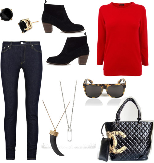 07.02.12 by blackmuse featuring a collar necklaceJoseph cashmere top, £70Acne jeans, £102Dolce vita booties, 165 CADHouse of Harlow 1960 collar necklace, $119Kate Spade clear stud earrings, $38Quartz crystal necklace, $22RetroSuperFuture cheetah sunglasses, £100