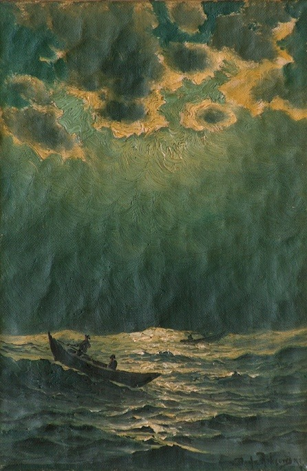 wasbella102:  Richard Dey De Ribcowsky: Seascape nocturne with fishing boats