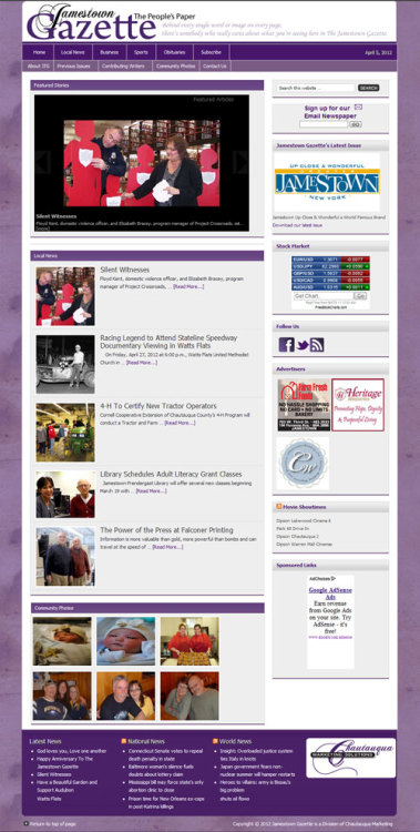 Earlier in the spring, we helped Jamestown Gazette Re-Launch their website. Using WordPress… we just did some basic housekeeping and reorganization.