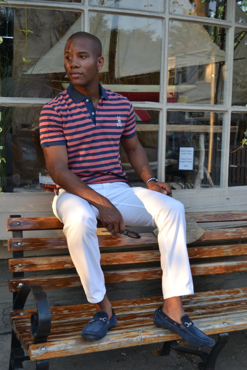 Red, White & Blue feature via Men's Style Pro Polo Shirt by Psycho Bunny White Chinos By Bonobos Blue Suede Loafers by Aldo