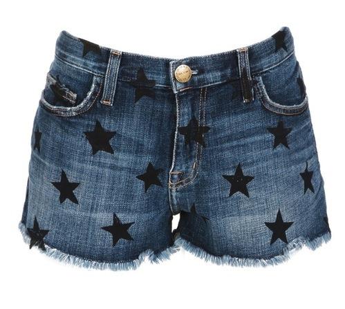 Fourth of July outfit essentials: star-spangled cutoffs. Current/Elliott Exclusive Boyfriend Short with Stars, $188, RonHerman.com