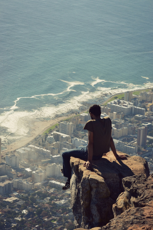trottin-the-globe:  Stranger on a Ledge Lion's Head, South Africa