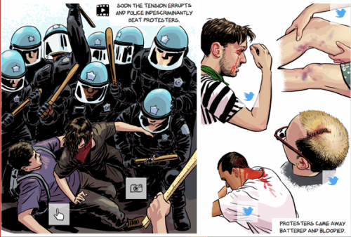 Luke Radl's multimedia comic on NoNATO protests in Chicago at Cartoon Movement