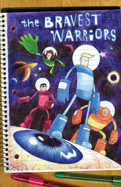 jimrugg:  the Bravest Warriors on Flickr. The Bravest Warriors #1 ballpoint pen, notebook drawing, coming in October from BOOM!