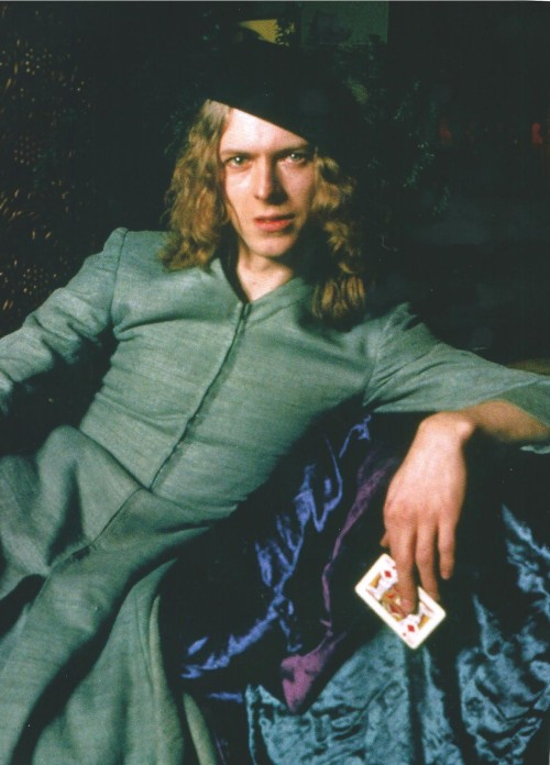 David Bowie on the first cover of The Man Who Sold The World, 1970.