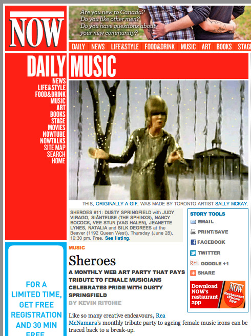 Many thanks to Kevin Ritchie of NOW for the Sheroes #11: Dusty Springfield write-up, as well as featuring Sally McKay's wonderful GIF from our Collective Lesbo Consciousness group GIF show.