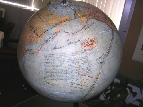 The Greatest Globe on Earth It isn't the biggest, shiniest, most up-to-date and detailed globe in the world. But the American Geographical Society's 18-inch Rand McNally Terrestrial Globe is doubtless the most precious because it was signed by 85 of the greatest explorers in modern times: from Charles Lindbergh and Amelia Earhart to Neil Armstrong and John Glenn. Not only did they sign it when they got back from netherlands (and netherworlds), they charted their courses on it in wavering ink lines across oceans and continents.