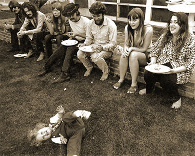 Pic Dawson, Eric Clapton, Joni Mitchell, David Crosby, Gary Burden, Annette Burden and Mama Cass with Amy Burden, Micky Dolenz and Owen Elliot at  Cass Elliot's house in Laurel Canyon…1968.