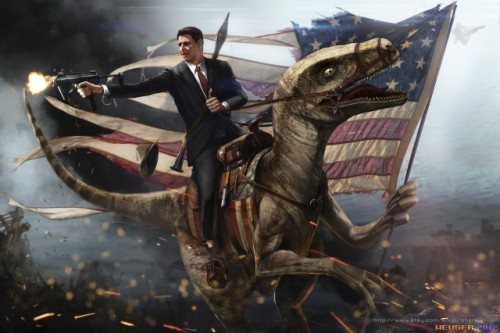 "Ronald Reagan is bringing prehistoric times to the modern battlefield in artist Jason Heuser's epic new Presidential illustration. 11"" x 17"" and 24"" x 36"" prints for both the original and Battlefield 3 style illustrations are now available at his Etsy shop, The Epic Art Store. Get in there! You might also take note of the extra Halo addition hidden within this detail shot. Related Rampages: John F. Kennedy Alien Hunter (More) Ronald Reagan Riding a Velociraptor by Jason Heuser (Etsy) (Twitter) Via: laughingsquid"