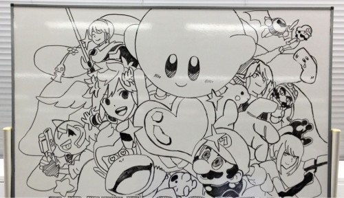 scrafty:  Smash Bros whiteboard art tweeted by Sakurai from the Smash Bros Wii U/3DS Development team.