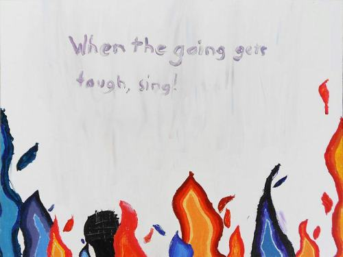 "Ten-year-old Julia illustrated her six-word memoir, ""When the going gets tough, sing!"" Students of all ages can submit to SMITH Magazine's eighth Six-Word Memoir book. Find out how you can submit yours here http://bit.ly/sixwithted"
