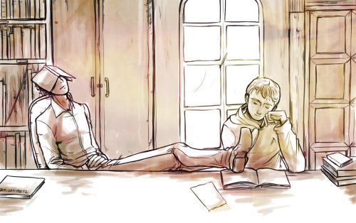 thebritishteapot:  Teen!Sherlock & John 'studying' together at the library. I haven't decided yet if they already know each other…. You decide Requested by a bajillion people