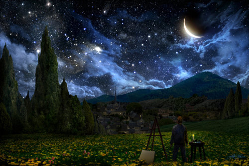"Alex Ruiz always wondered about how the night sky looked to Van Gogh when he painted ""Starry Night."" This is what Alex came up with.  Starry Night by *AlexRuizArt"