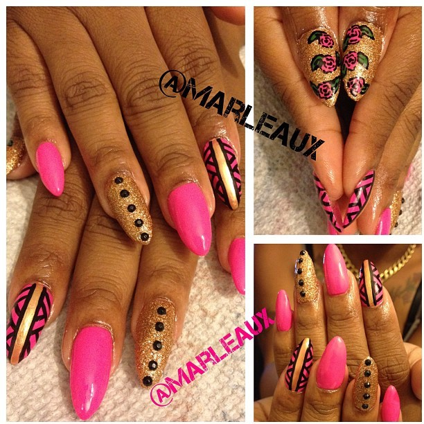 #nailart I freaking love these! She said she wanted grown and sexy nails. I used Orly Beach Cruiser, Milani Gold Glitz and Essie Shifting Power. #nailenhancements #acrylicnails #stilettonails #essie #orly #milani (Taken with Instagram)