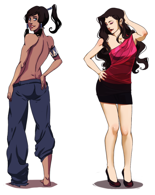 nova-bright:  metalling-the-next-avatar:  Korra & Asami by *YukiHyo  Its really hard for them to find a resteraunt that lets them both dress up in their desired fancy style, but they eventually do! :D