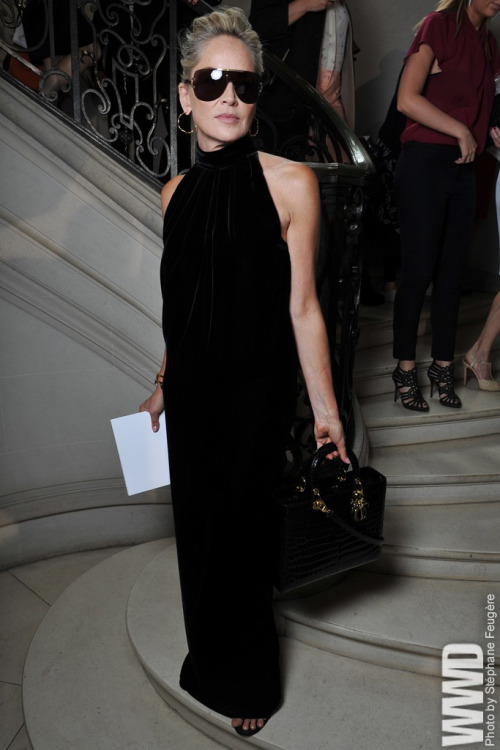 womensweardaily:  Sharon Stone Front Row at Dior  A MAH ZING