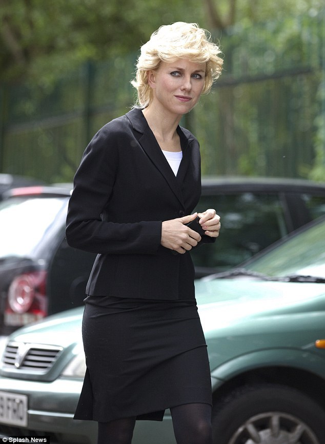 Naomi Watts as Princess Diana filming Caught in Flight