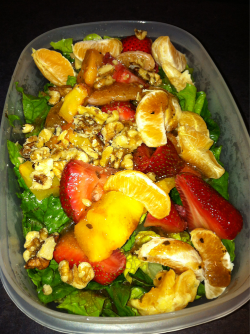 Lunch. Pineapple, strawberry & clementine salad.  Yes, it's a lil crazy for a Monday, I know.