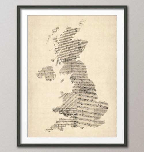 Great Britain (United Kingdom) Old Sheet Music Map on Etsy