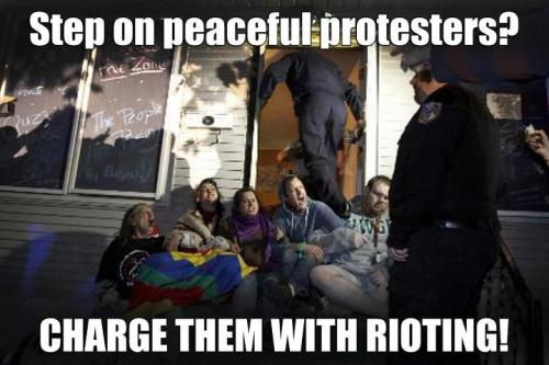 Several Occupy Homes activists have been charged with rioting after linking arms and sitting down to defend a family from an unjust eviction. They currently face up to 2 years in prison and a $7,000 fine. The man stepping on them is the chief of police. More info: http://www.occupyhomesmn.org/nonviolent-cruz-family-supporters-targeted-with-riot-charges-weeks-after-arrests/ Donate to help cover the legal expenses of this ridiculous attack on the occupy movement: www.wepay.com/occupyhomesmn