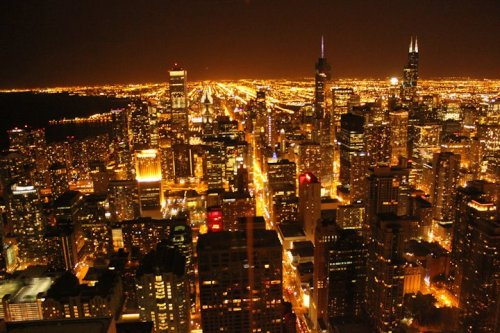 View of Chicago from the 96th floor of the Hancock tower.  - had to dress up and look good, pretend i was going to drink at their bar, show my id…JUST SO I CAN GO TO THEIR RESTAURANT BATHROOM AND TAKE THIS PICTURE. lol.