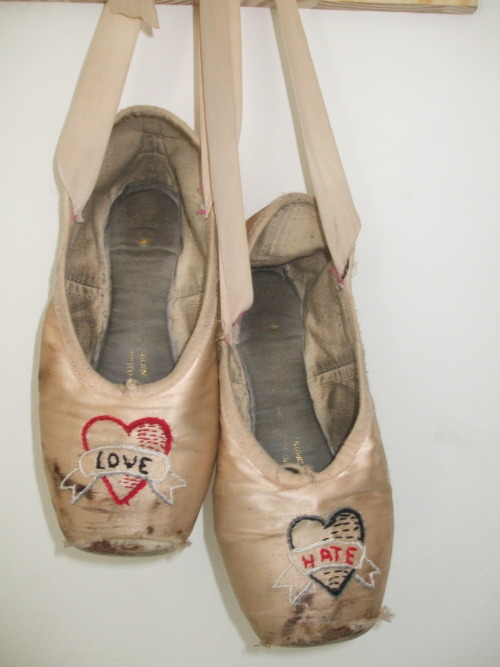 Love and Hate ballete shoes … Love performing and show work, Hate rehearsing and exam drill. Share if you like the sentiment or the artwork and show me anything you have done/have seen in a similar vein.