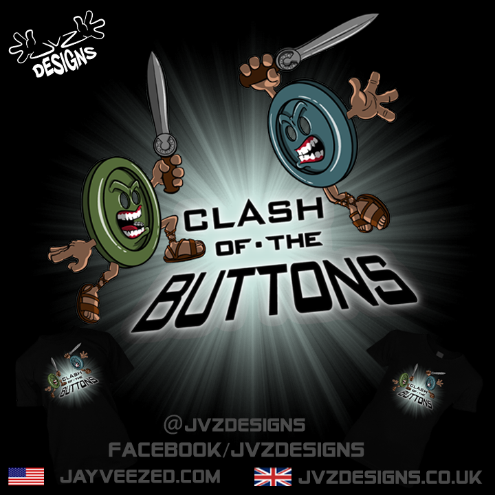 "jvzdesigns:  ""Clash of the Buttons"" by jayveezed - available on T-Shirts, stickers, i-phone cases, all manner of print on-able stuff from the following places… JVZ Designs 