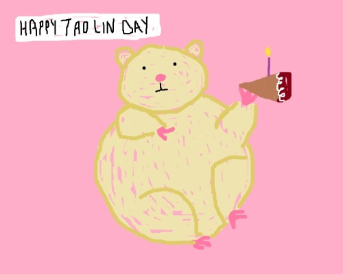 ohyesitsladiesnight:  This is a drawing of a hamster eating vegan birthday cake with a neutral facial expression while high on bath salts.