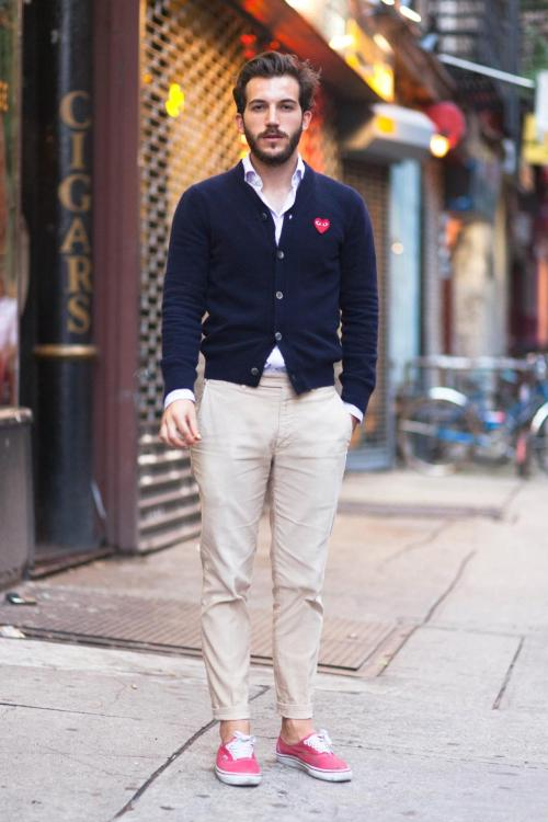 qualityxsprezzy:  GPOY in the streets: Comme Des Garcons sweater, Cucinelli shirt, Aspesi trousers, and Vans.  Alex. This past week on The Lab Magazine's Street Style Sunday. Photo by Me!