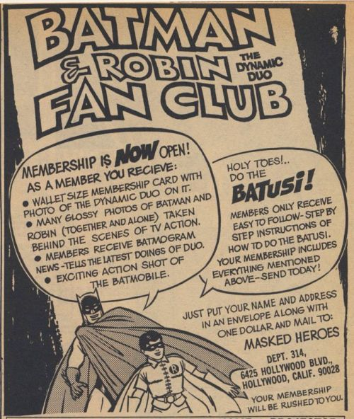 Batman & Robin Fan Club ad (1966)