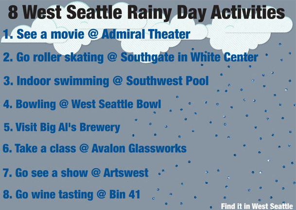 Stuck on what to do on a rainy day in West Seattle? Especially when it's raining in the summer! Here are some ideas!
