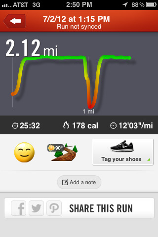 today's run. I took a break for about 6 days due to company visiting my house so I was busy spending time with them and stuff. This is behind where I wanted to be by now…but oh well. Habits take time to form and nothing is instant, I have to remember that.