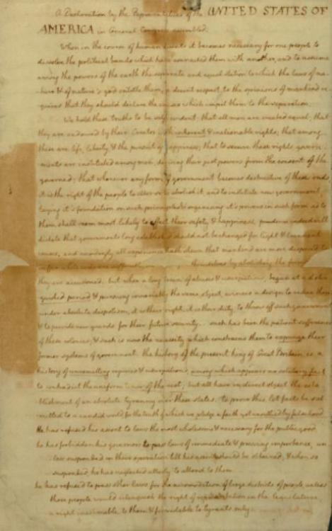 We give you: the Declaration of Independence, in Thomas Jefferson's hand. Click through to see all four pages. (Apologies for the fuzzy quality of the images.) Amazing, right? This artifact is in the NYPL's Thomas Addis Emmet Collection, which contains several thousand original prints, drawings, watercolors, and printed book illustrations relating to early American history, primarily from the period leading to the American Revolution through the early years of the nation. In an NYPL blog post, Thomas Lannon, assistant curator of the Manuscripts & Archives Division, gives a history of this copy of the Declaration and explains how the Library came to own it. Happy Independence Day!