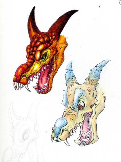 Some dragon head experiments. Felt pen and ink, Crayon and ink.  Traditional.