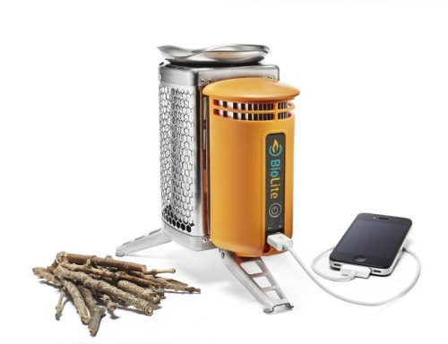 donwhiteside:  minimalmac:  The BioLite Camp Stove looks really neat. It is a portable, packable, high-effeciency, camp stove that generates electricity from the heat to also charge your gadgets:  Our stoves cook your meals with nothing but the twigs you collect on your journey, eliminating the need for heavy, expensive, polluting petroleum gas. Quick to light, fast to boil and easy to use. By converting heat from the fire into usable electricity, our stoves will recharge your phones, lights and other gadgets while you cook dinner. Unlike solar, BioLite CampStove is a true on-demand source.  Brilliant! Seriously, for anyone who enjoys the outdoors this seems like a no brainer.  This would have been useful for a lot of people in the DC area this last week. There was ample fuel in my yard, too.  This… is brilliant.