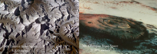 Olympus Mons (Mars) and Everest Mons (Earth)