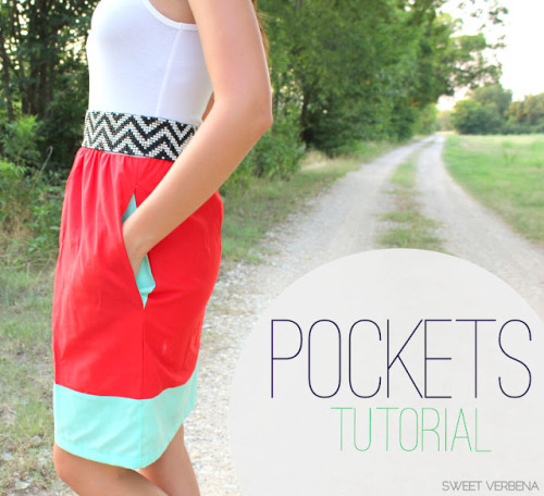 DIY How to Add Pockets to Anything Tutorial from Sweet Verbena here. *This post goes a long with her color blocked tank dress here.