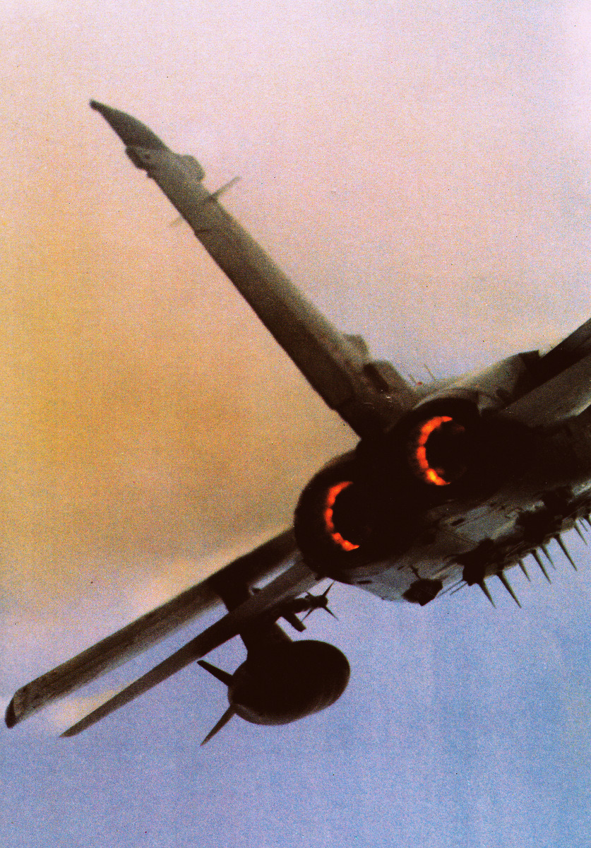 Whipping up a storm: RAF Tornado. Love how the fins of the missiles look like spikes or fangs.  flight-time:  Tornado