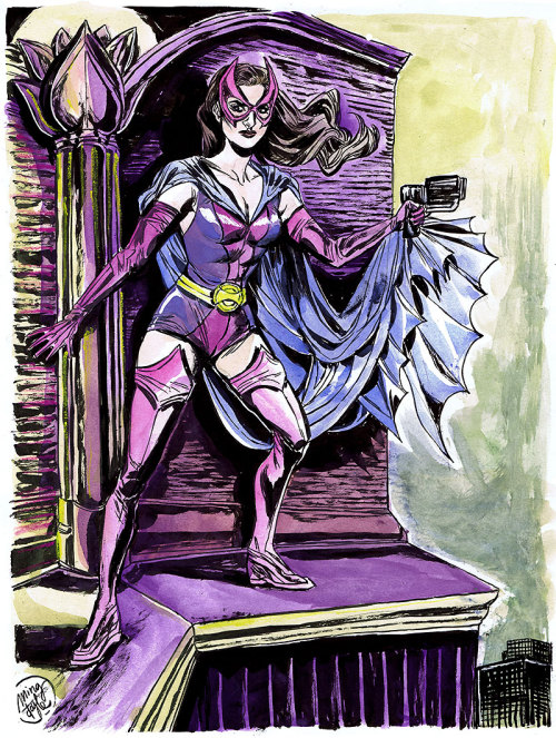 HeroesCon pre-commission: Huntress. (Ink and watercolor on vellum Bristol)