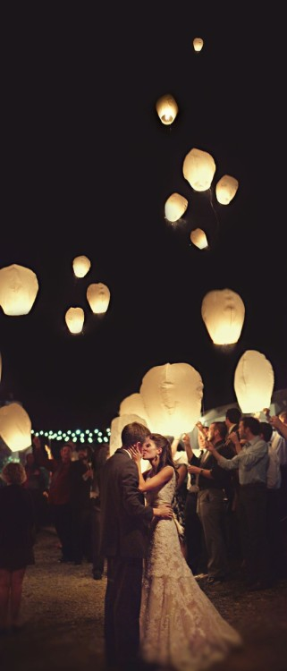 wedding party with lanterns