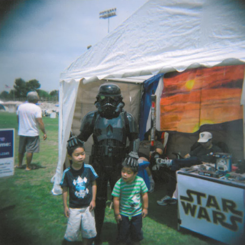 My boys with my sister, the Stormtrooper (special ops).  She was helping the Relay for Life charity.