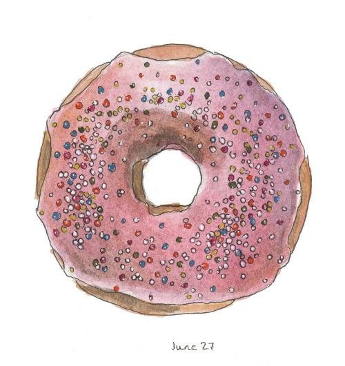 366sketchbook:  179/366 Happiness is a sprinkle doughnut.