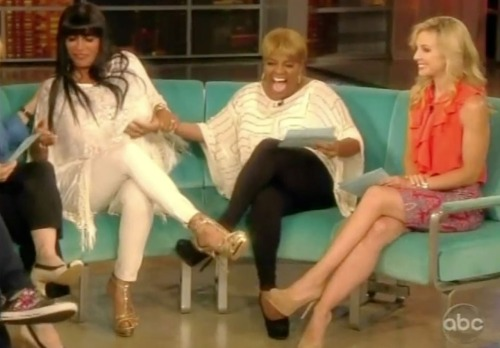 "huffposttv:  Big Ang stopped by ""The View"" today and forced Joy Behar and Sherri Shepherd to get to second base with her. Normal. On a related note, I need to get to Staten Island, like yesterday, and go to Drunken Monkey.  Drunken Monkey Pilgrimages are a must for any Ang devotee."