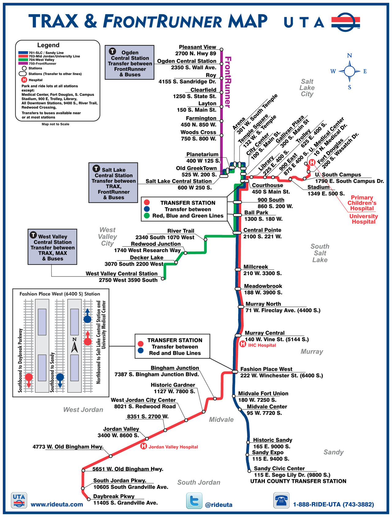 "Official Map: TRAX and FrontRunner Rail Map, Salt Lake City, Utah By all accounts, the Utah Transit Authority's rail system is a modern and successful one. However, this is something you'd never guess from their system map, which is one of the most cobbled-together, unprofessionally done maps I've ever seen. Have we been there? Yes, but I've never caught the train there. What we like: The required information is there to be found if you can bear to look at the map long enough. What we don't like: Put simply, this is terrible, terrible work. The downtown area is ridiculously cramped (the Planetarium and Arena station dots actually overlap slightly!), leading to some ugly and difficult to follow labelling of stations, especially between the Gallivan Plaza and 900 East stations. Things could be improved somewhat by setting the station addresses in a smaller, lighter font to at least alleviate some confusion. The lines that point from the labels to the stations have no consistency at all: some are longer than the station name, others are shorter, leading to a very messy look. The map also seems to think that its users are utterly incapable of understanding what a ""transfer station"" is, as it includes giant, redundant call out boxes that point at five separate stations explaining the concept. The call out boxes for the stations that allow transfers to different modes are large and intrusive and could be much better handled with icons that represent each mode. The inset map of the track layout at Fashion Place West station is somewhat useful (although I think signage at the station itself would suffice, as it's not a particularly complex arrangement), but looks like a generic piece of clip art. The presence of ESRI fonts in the PDF of this map leads me to believe that this map is based off GIS data, which has only been slightly tweaked to create the final map. Both for aesthetics and information hierarchy, I think the map could have greatly benefited from being redrawn from scratch to allow better spacing of elements. Other parts of the map, especially the call out boxes, need to be rethought completely. Our rating: Awful. 1 star (and that's probably being generous).  (Source: Official UTA website)"