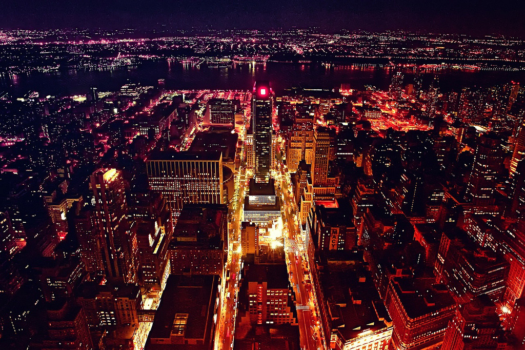 ne0nmagic:  Penn Station and Hudson River from Empire State (by orgutcayli)